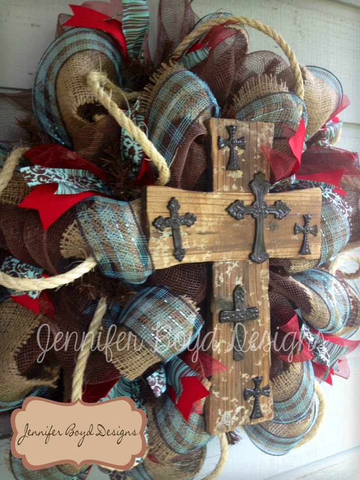Close up of Cross.......Western Rustic Red, Turquoise, and Burlap Cross Deco Mesh Wreath with Rope. $95.00, via Etsy.