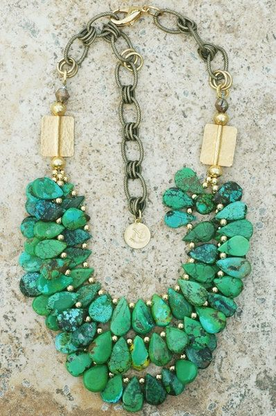 .: Turquoise Necklaces, Statement Necklaces, Beads Necklaces, Jewelry, Gold Necklaces, Accessories, Shades Of Green, Chunky Necklaces