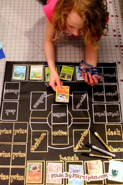 My daughter came up with this project: a vinyl playing mat for Pokemon card tournaments.