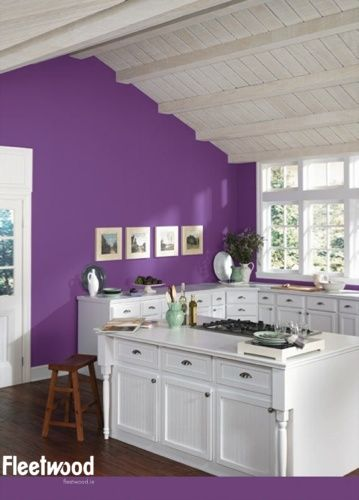 Kitchen painted in fleetwood paint 39 s razzmatazz for Purple paint in kitchen
