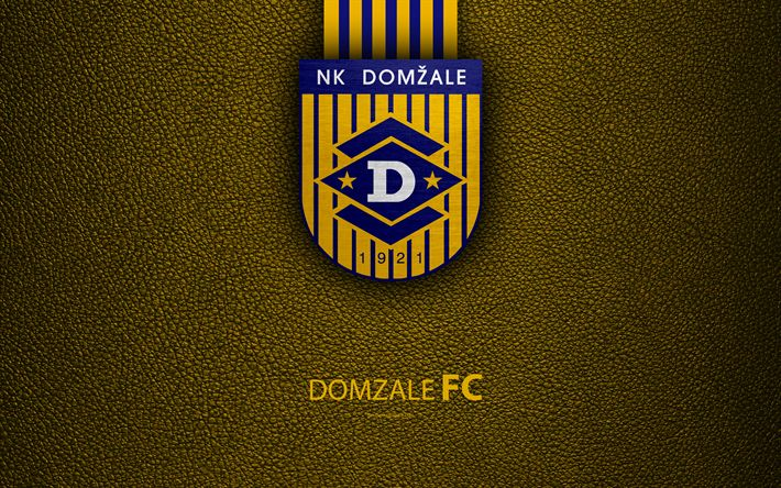 Download wallpapers NK Domzale, FC, 4k, Slovenian football club, emblem, leather texture, PrvaLiga, Dom?ale, Slovenia, Slovenian First Football League, football