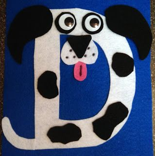 Letter of the week crafts- D is for Dog.  Great, easy felt puzzle activity for preschoolers.  Can also use construction paper.  Link to free pattern is included.  #Montessori inspired preschool alphabet DIY three four year old