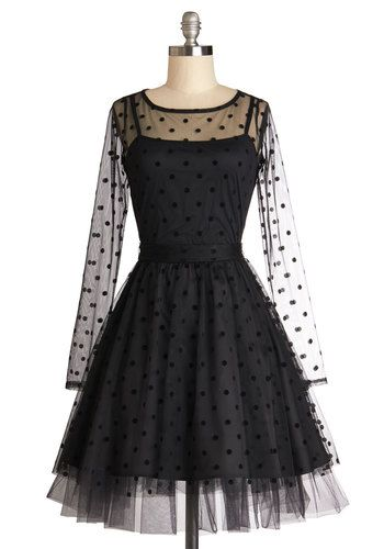 Party dresses: Before the Ballet Dress, #ModCloth #LBD Oh-so-pretty. Love the dots! www.NakedtoKnockout.com for more!