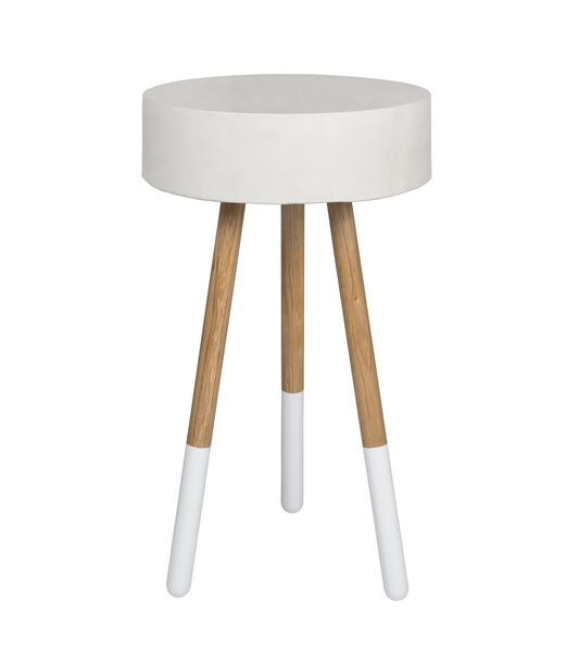 Ellie tall side table with white concrete top.