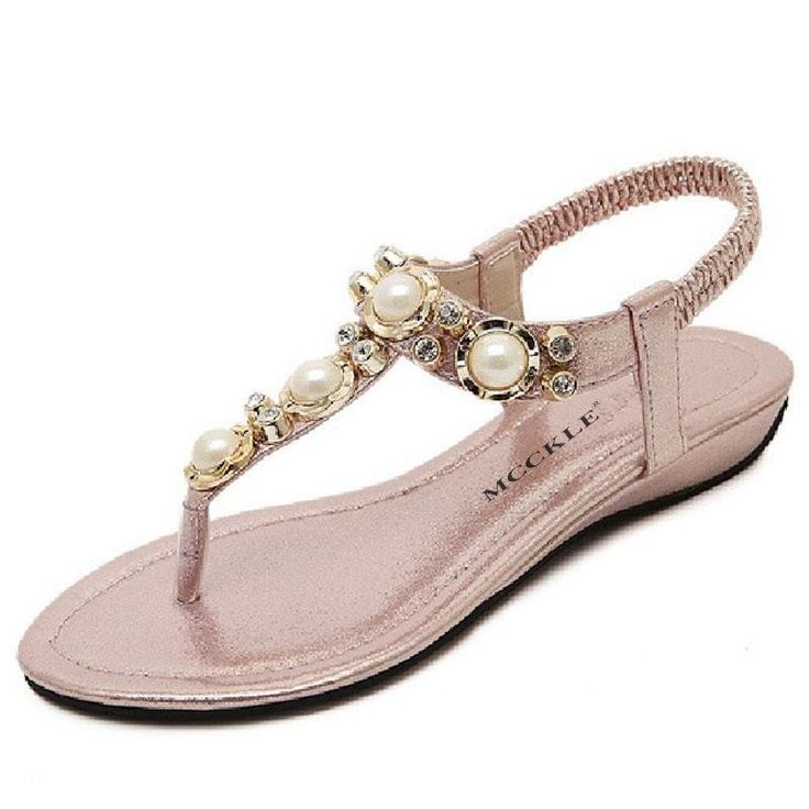 Pearls Toe Thong Comfortable Flat Sandals