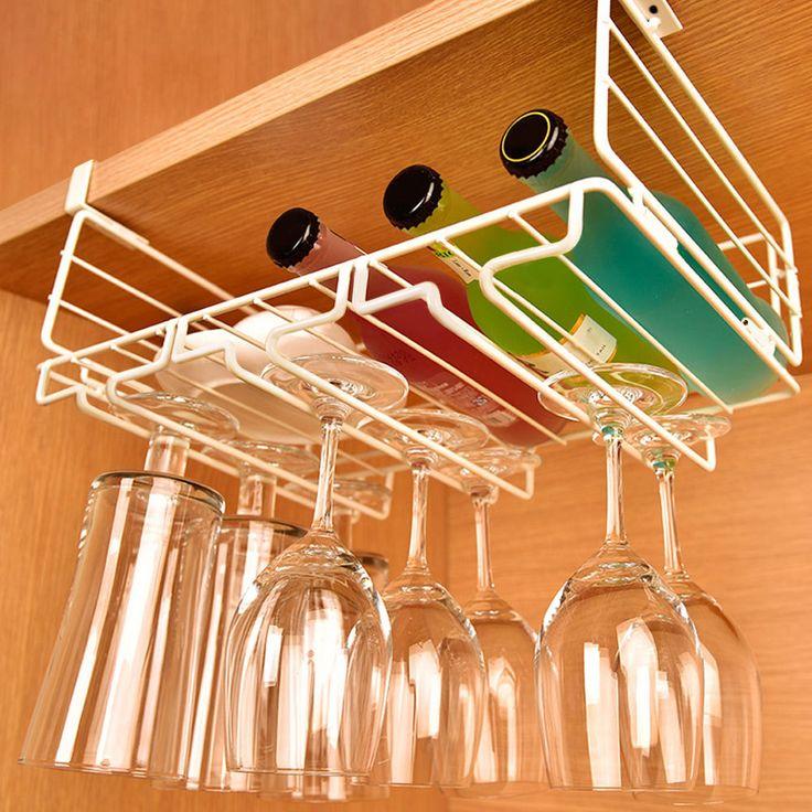 Lifewit High quality 9 Wine glass rack Stemware Hanging Under Cabinet Holder Hanger Kitchen bar accessoires Household Home Bar