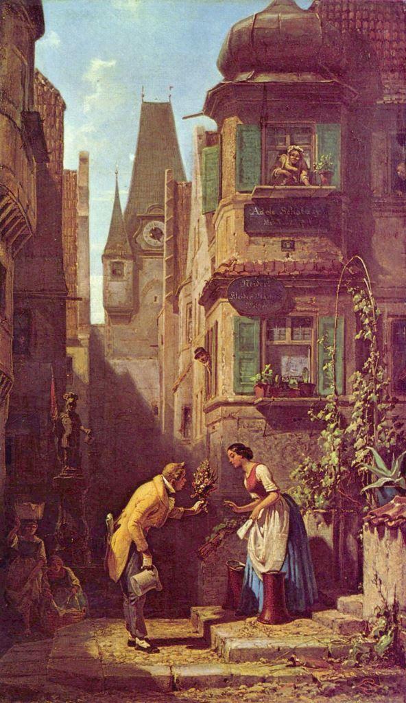 Carl Spitzweg.  Der ewige Hochzeiter. Um 1860, Öl auf Leinwand, 48 × 27,5 cm. Essen, Villa Hügel. Genremalerei. Deutschland. Romantik, Biedermeier.  KO 00872