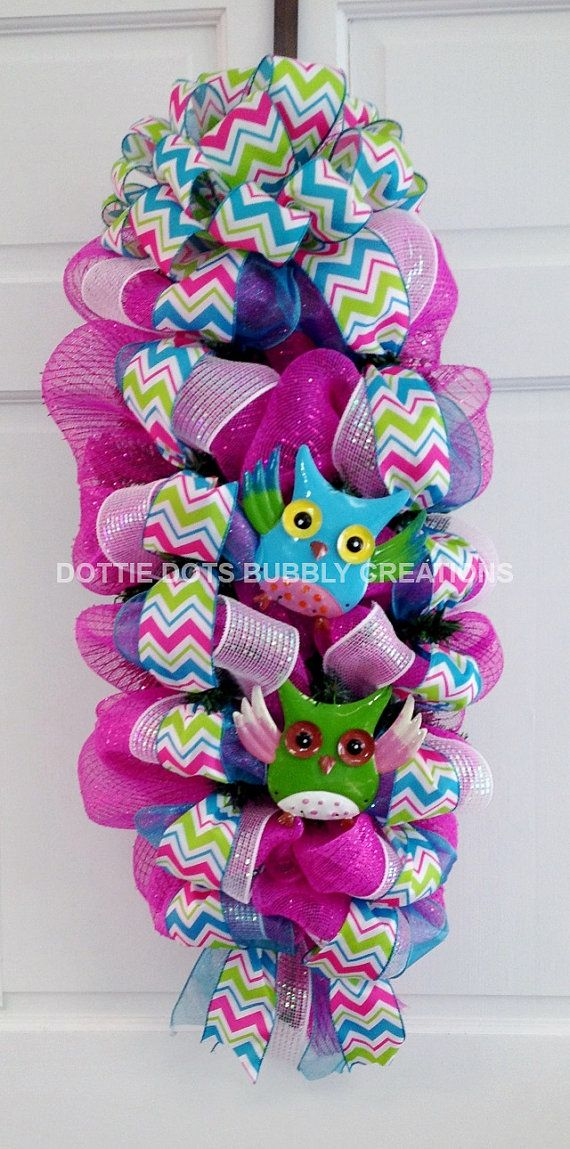 Hot Pink Multicolor Chevron Owl Mesh