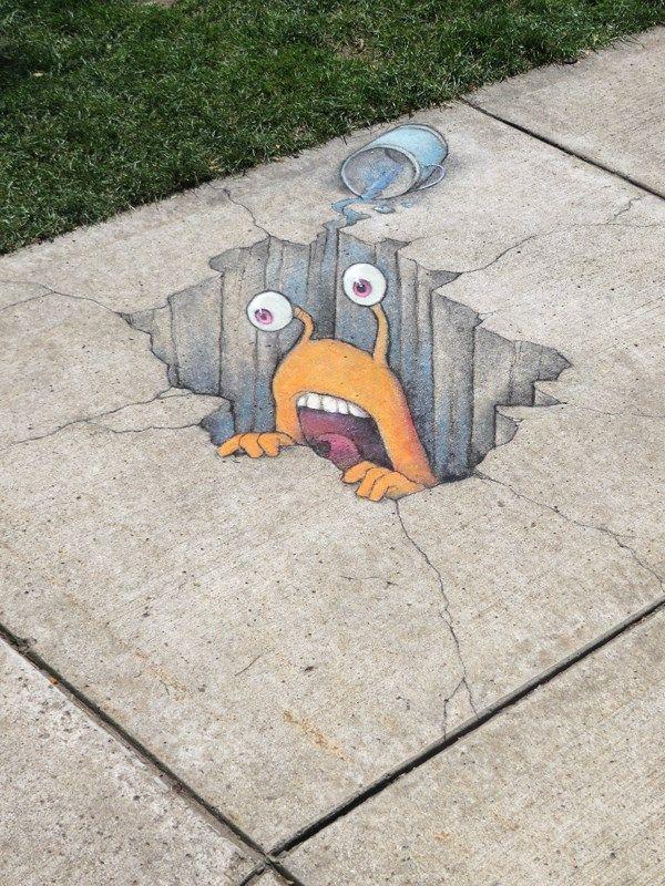 Best David Zinn Street Art Images On Pinterest Street Art - David zinns 3d chalk art adorably creative