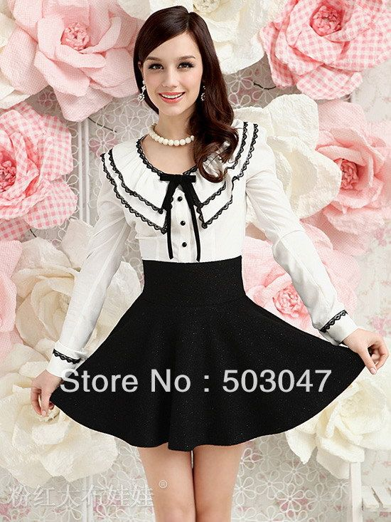 2013 Nieuw voorjaar aankomst O-hals zwart kant vrouwen blouses slanke shirt voor dames witte kleur gratis verzending