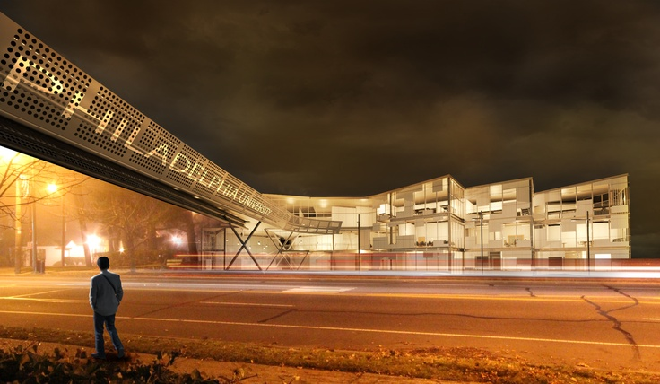 Night Rendering Philadelphia University Conceptual C-ABE Buildling