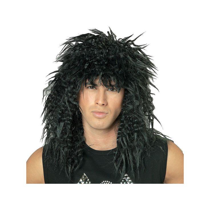 Adult 80's Rock Star Costume Wig, Black
