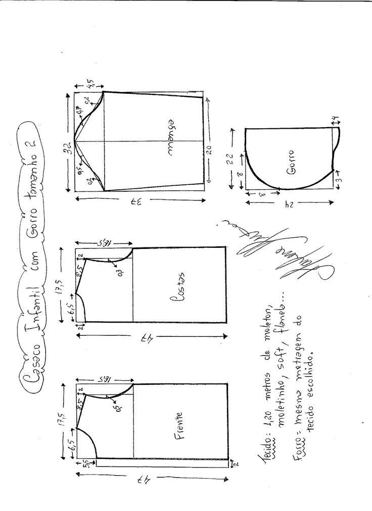Esquema de modelagem de Jaqueta Infantil com Capuz tamanho 2.