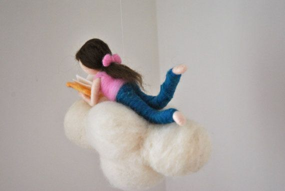 Cloud Mobile Room Decor needle felted : Girl or Boy by MagicWool
