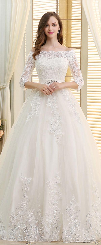 Romantic tulle offtheshoulder neckline ball gown wedding dresses