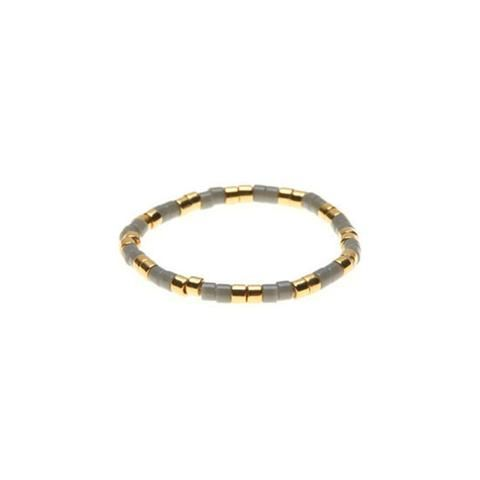 Sidai Designs Single Beaded Ring Gray and Gold One Size