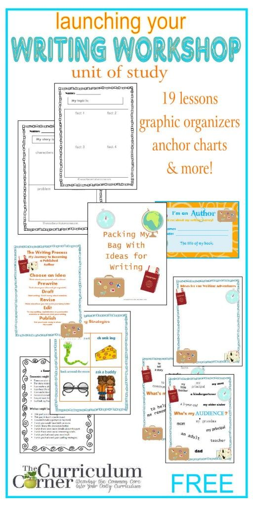 Launching Your Writing Workshop Complete Unit of Study FREE from The Curriculum Corner - love the cute travel theme that is a part of this unit!