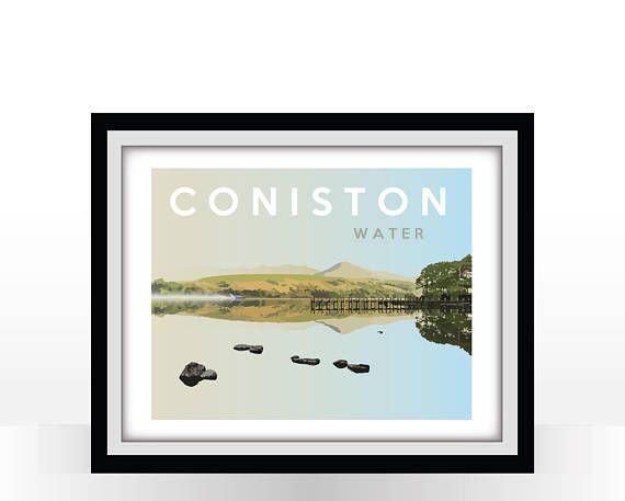 Coniston Water Bluebird Vintage Travel Poster