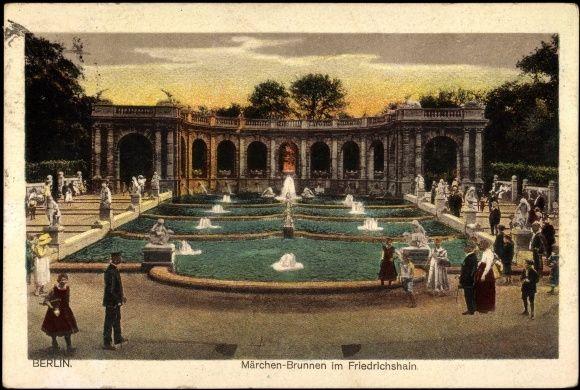 Ansichtskarte Gelaufen 1922 Postkarte Berlin Friedrichshain Passanten Am Mrchenbrunnen