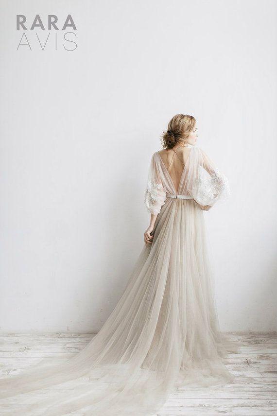 Wedding dress Linda long sleevs beach by RaraAvisAngeEtoiles