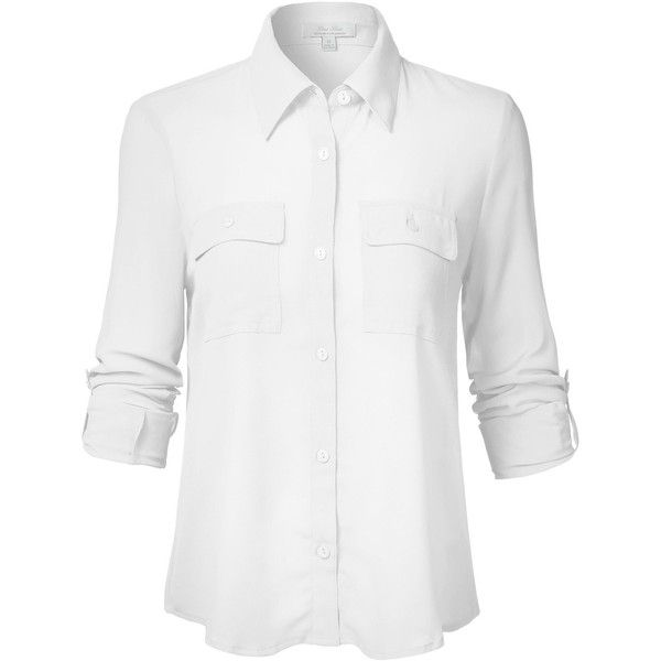 Luna Flower Women's Basic Solid Long Sleeve Front Pocket Chiffon Sheer... (€11) ❤ liked on Polyvore featuring tops, blouses, white long sleeve shirt, white button up blouse, chiffon blouses, sheer button up blouse and white long sleeve blouse