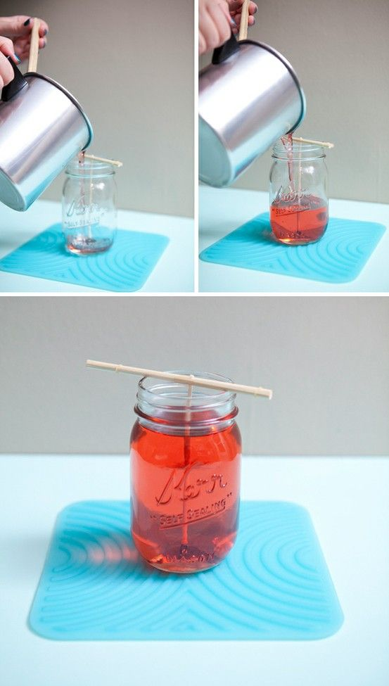 """DIY Mason Jar candles. I recently saw them selling these at Meijers and thought """"there must be SOME way to make those!"""". And whaddaya know, there is!"""