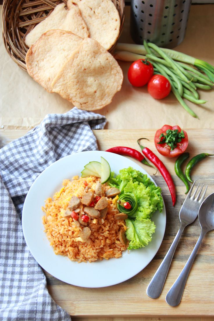 Fried Rice with Meat Ball (Indonesian Food)