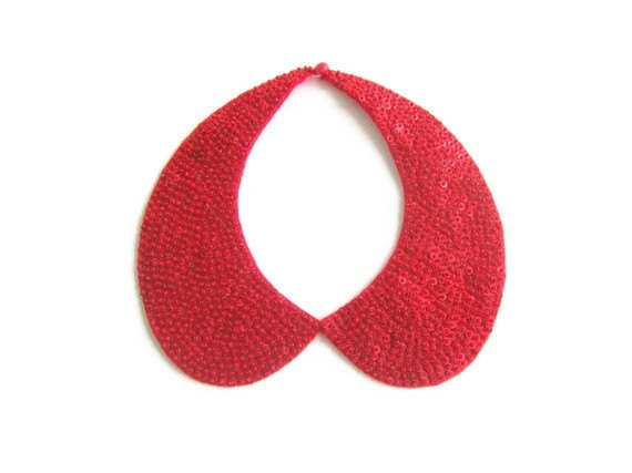 Red colored  handmade collar necklace by NurayAytac on Etsy, $35.00