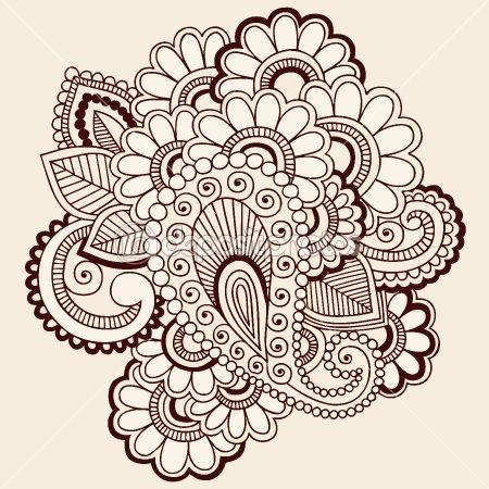 Henna Mehndi Tattoo Doodles Vector Design Element — Imagens vectoriais em stock #8693143