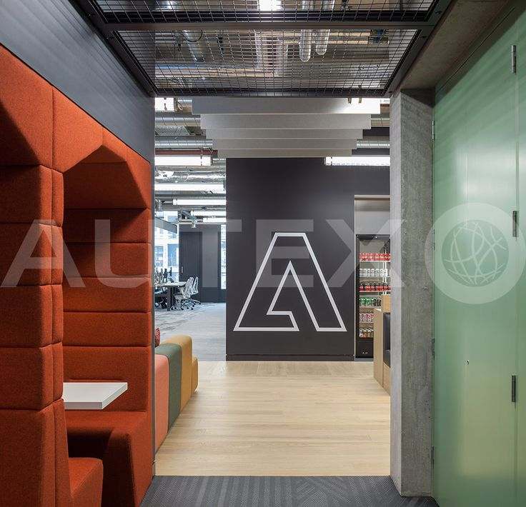 Autex Interior Acoustics - Cube™ - Adobe Head Office, UK - Cube™ suspended from ceiling - Colour: Flatirion - Modern Office Space