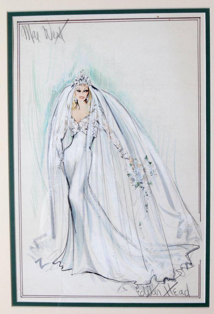 EDITH HEAD Original SIGNED Costume Sketch - Mae West - Myra Breckenridge 1970