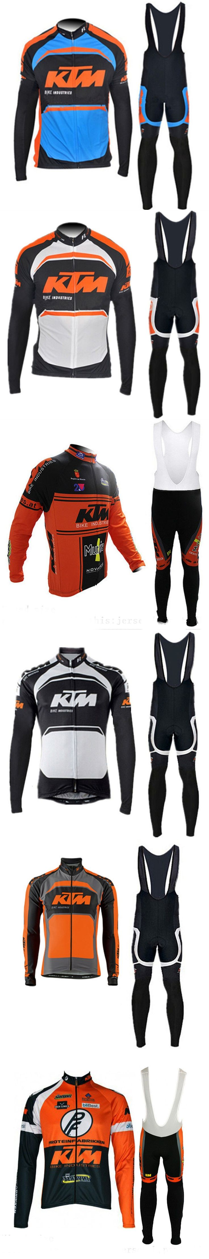 2017 KTM cycling jersey set ropa clismo long sleeve mtb bicycle clothes Breathable men's racing bike clothing sportswear G0706
