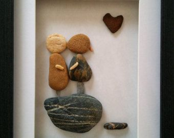 Unique birds art, pebble art, stone art, rock art, housewarming gift, loving…