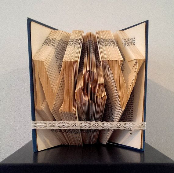 Initials with an ampersand - Original Wedding Gift idea - Anniversary present - Book sculpture - Girlfriend - First anniversary
