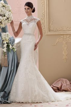 High Neck trumpet bridal gown with applique and beading
