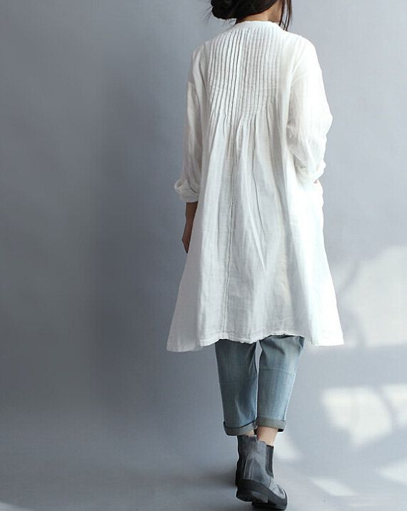 Cotton Long Shirt or Dress - Long sleeves  - Standup collar - Tucks up top, front and back,  turn into gather-like fullness near waist -- by MaLieb on Etsy - Note to myself: $99