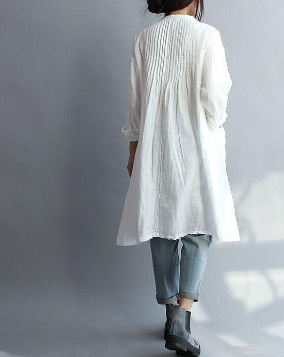 Vrouwen Cotton Long Shirt witte jurk van MaLieb op Etsy