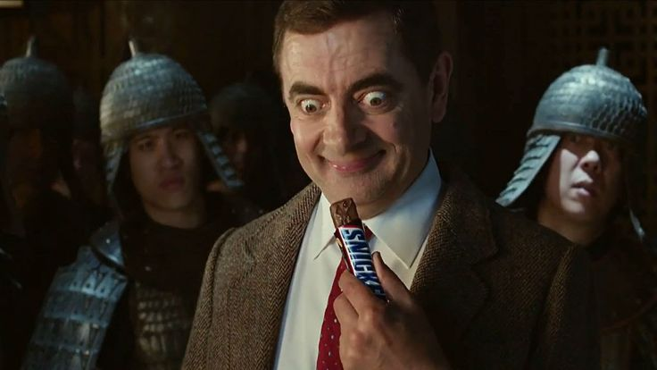 """Snickers Mr Bean TV advert - This Snickers TV ad uses a celebrity to gain more attention. It is also one of many snickers commercials using the slogan """"You're not you when you're hungry"""". In this commercial, it shows the funny and popular character, Mr. Bean, as a ninja that just needs a snickers bar"""