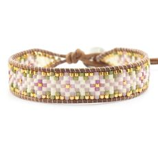 Pink Mix Beaded Single Wrap Bracelet on Natural Brown Leather