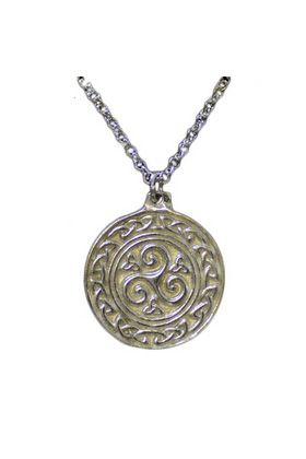 Celtic Medallion Pendant with inscribed Celtic patterns made in silver pewter.