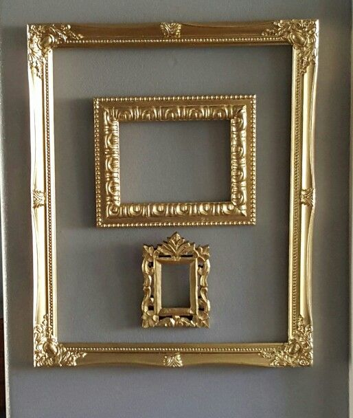 Spray painted old picture frames in metallic gold