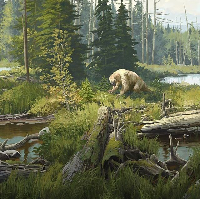Megalonyx grazing in a boreal bog bt Beth Zaiken