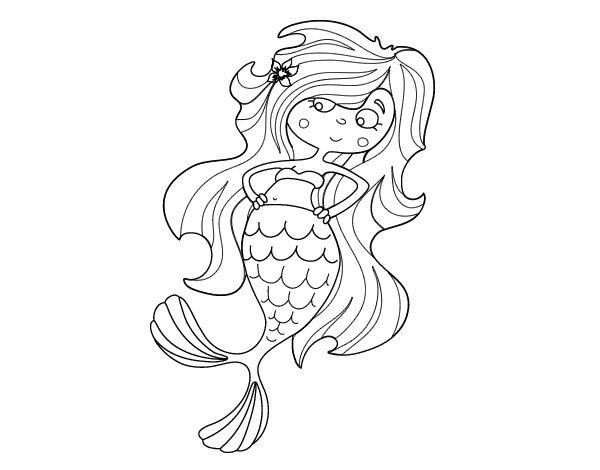 Dibujo de Sirena chibi para Colorear t