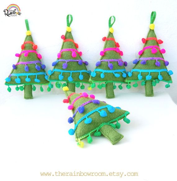 Jolly Christmas Tree Rainbow - A Funky do Upcycled Plush Feltro Decoração de Natal com colorido Pom Pom guarnição