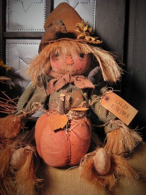 Primitive Folk Art Harvest Scarecrow Doll~Pumpkin~Sunflower #NaivePrimitive #artist
