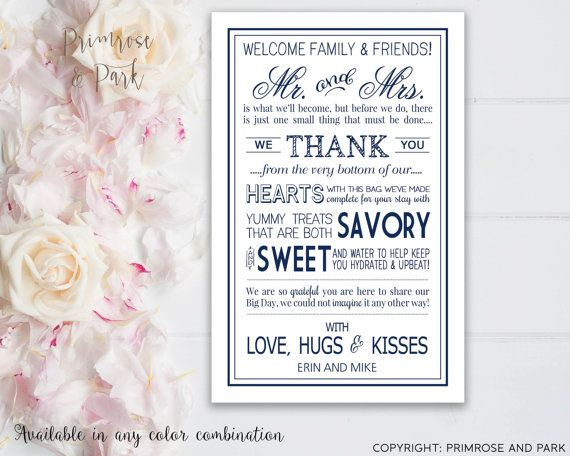 Wedding Welcome Letters Printable // Wedding Welcome Bags for Out of Town Guests