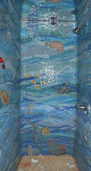 Under the sea glass mosaic shower.