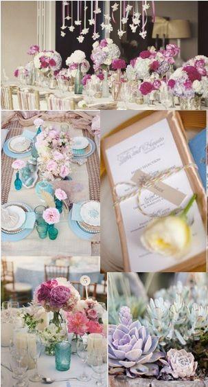 テーブルセッティングイメージ① ローズやラベンダー、青、白が装飾色として入っている。テーブルクロスは白。綺麗めな配色だがどこか力抜けた親しみやすい雰囲気がほしい