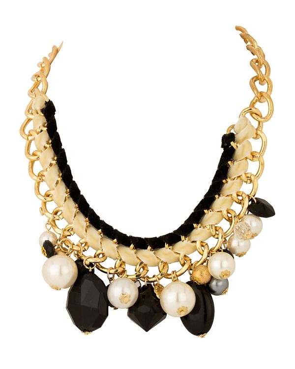 Gold Plated Punk Necklace With Golden, Black Beads, Pearls