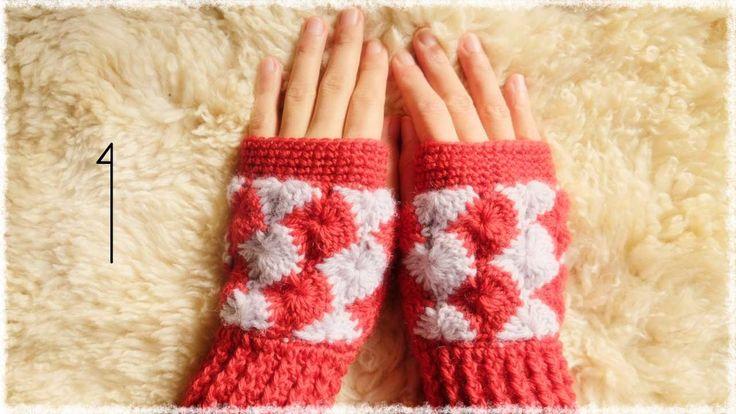 ハンドウォーマーの編み方・作り方(1)【かぎ編み/キャサリンの車輪編み】 crochet catherin wheel stitch
